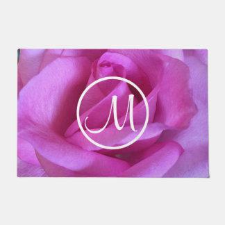 Purple pink rose close-up photo custom monogram doormat