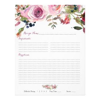 Purple Pink Rose Floral Binder Recipe Inserts Flyer