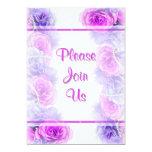 Purple pink rose flower party custom invitation