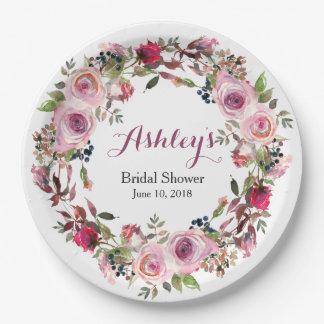 Purple Pink Rose Wreath Bridal Shower Paper Plate