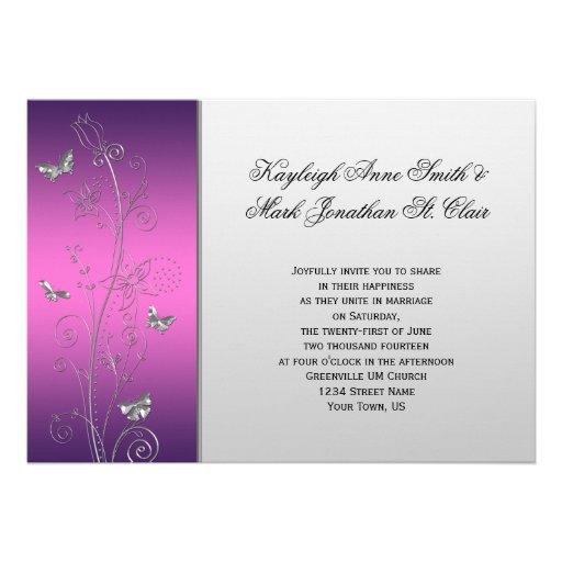 Purple Pink Silver Floral Butterflies Wedding 13 Cm X 18 Cm Invitation Card