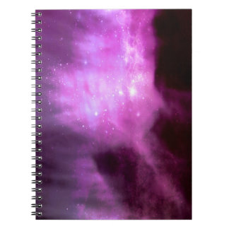 Purple pink stars in space notebooks
