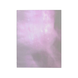Purple pink stars in space notepad