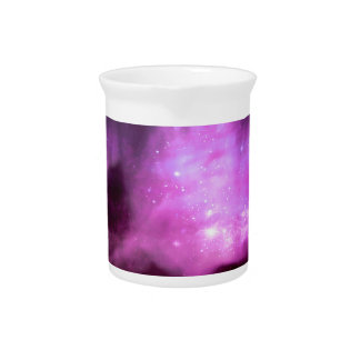 Purple pink stars in space pitcher