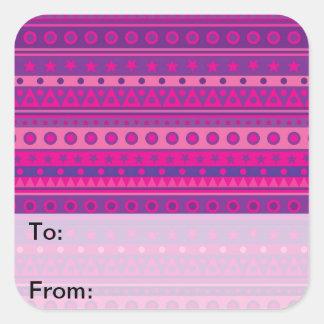 Purple Pink Stripy Stars Spots Pattern Gift Tags Sticker