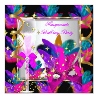 Purple Pink Teal Blue Masquerade Party Birthday 13 Cm X 13 Cm Square Invitation Card