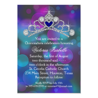 Purple Pink Teal Blue Quinceanera 13 Cm X 18 Cm Invitation Card