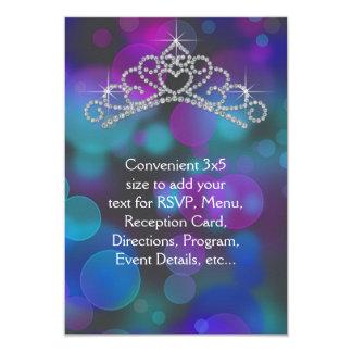 Purple Pink Teal Tiara RSVP All Purpose 9 Cm X 13 Cm Invitation Card
