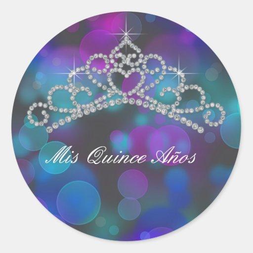 Purple Pink Teal Tiara Sweet 15 16 Quinceana Label Round Sticker