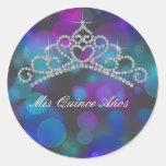 Purple Pink Teal Tiara Sweet 15 16 Quinceana Label Stickers