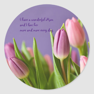 Purple Pink Tulips Mother's Day Round Sticker