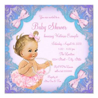 Purple Pink Tutu Girl Baby Shower 13 Cm X 13 Cm Square Invitation Card