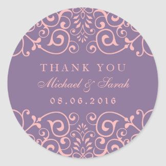 Purple Pink Vintage Swirl Flower Thank You Sticker