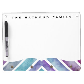 Purple Pink Watercolor Chevron Geometric Print Dry Erase Board With Key Ring Holder