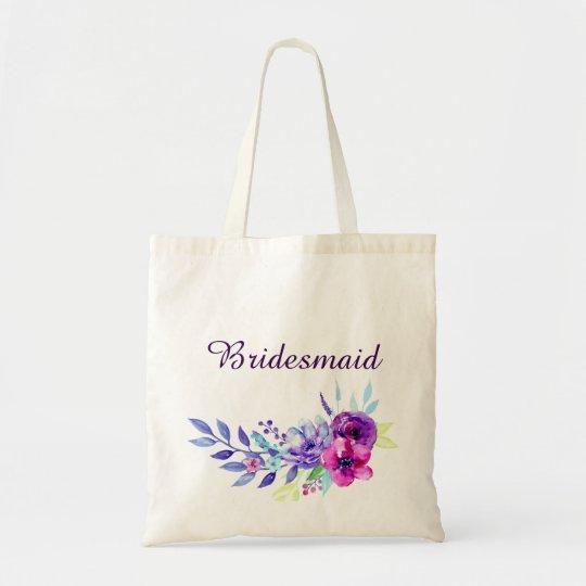 Purple & Pink Watercolor Floral Bridesmaid