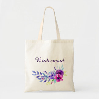 Purple & Pink Watercolor Floral Bridesmaid Tote Bag