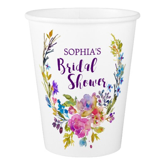 Purple Pink Watercolor Floral Wreath Bridal Shower Paper Cup