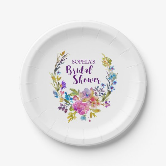 Purple Pink Watercolor Floral Wreath Bridal Shower Paper Plate