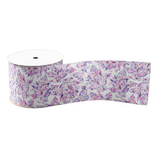 Purple pink watercolor gold chic floral paisley grosgrain ribbon