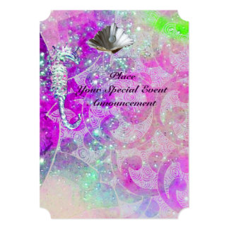 "PURPLE PINK WAVES, SEAHORSES,SEASHELLS,BLUE RIBBON 5"" X 7"" INVITATION CARD"