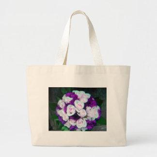 purple pink wedding flowers tote bags