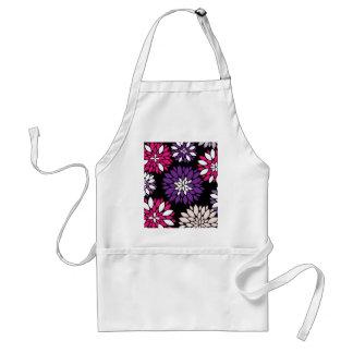 Purple Pink White Flower Art on Black Apron