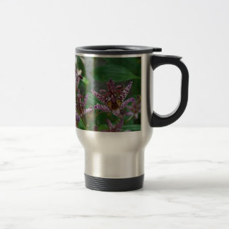 Purple pink white striped orchid like flower lilly travel mug