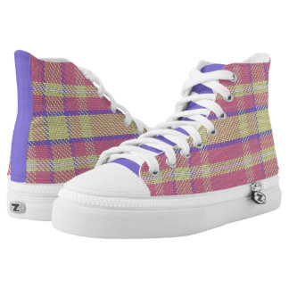 Purple/Pink/Yellow Plaid High Top Sneakers