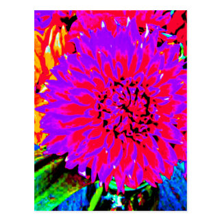 purple, pinks, orange dahlia in mason jars postcard