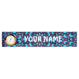 Purple Piper Desk Nameplate with Clock