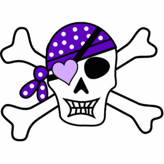 Purple Pirate Crossbones Photo Sculpture Magnet