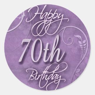 Purple pizazz for 70th birthday round sticker