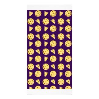 Purple pizza pattern personalised photo card