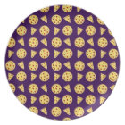 Purple pizza pattern plate