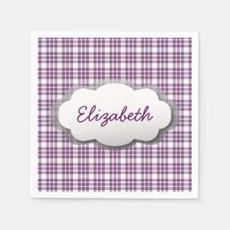 Purple Plaid 3D Look Frame and Custom Name A01 Disposable Napkins