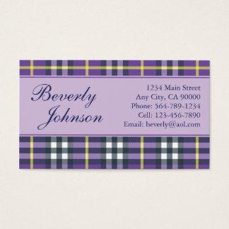 Purple Plaid Business Cards