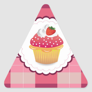Purple Plaid cupcake Fun Triangle Sticker