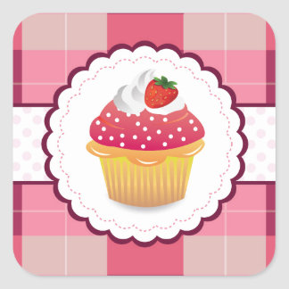 Purple Plaid cupcake Fun Square Sticker