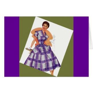 Purple Plaid Dress Greeting Card