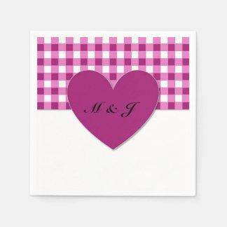 Purple Plaid Heart Monogram Paper Napkin Wedding