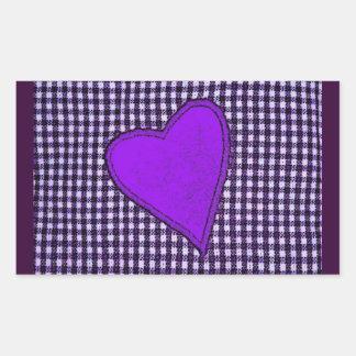 Purple Plaid Heart Rectangular Sticker