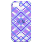 Purple Plaid Monogram Custom Initials Barely There iPhone 5 Case