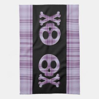Purple Plaid Skull Tea Towel