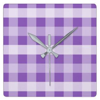 Purple Plaid Square Wall Clock