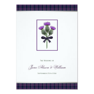 Purple Plaid & Thistle Evening Wedding Reception Card