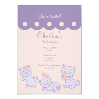 Purple Playful Kittens Birthday Party Invitation