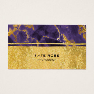 Purple Plum Amethyst Stone Marble Golden Makeup Business Card