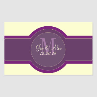 Purple Plum Cream Wedding Wine Labels Rectangular Sticker