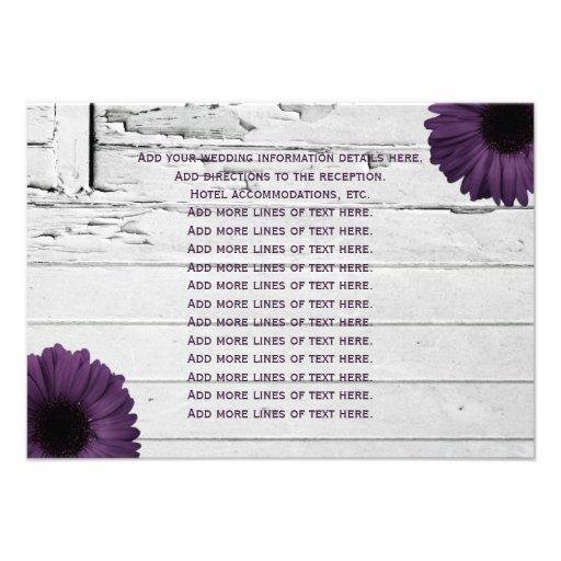 Purple Plum Gerber Daisy Wedding Information Card