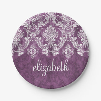 Purple Plum Grunge Damask Pattern with Name 7 Inch Paper Plate